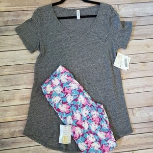 S Solid Gray Classic T and OS Mickey Mouse Legging